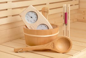 Sauna-Set Traditionell – Aufgusseimer, Aufgusskelle, Hygrometer, Thermometer & Sanduhr